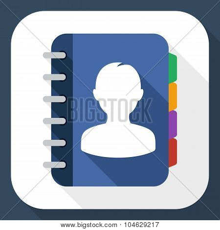 Address Book Flat Icon With Long Shadow