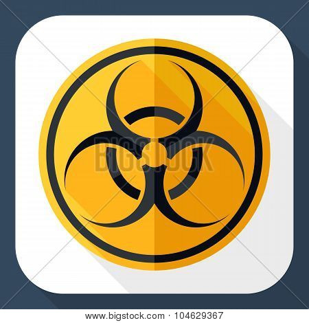 Biohazard Icon With Long Shadow