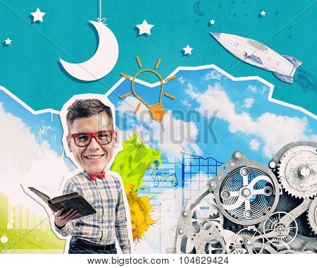 Young funny businessman with opened book in hands