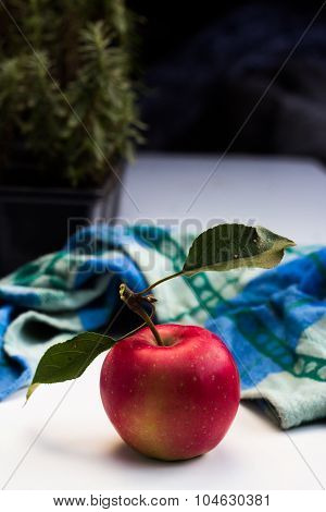 Red Organic Apple With Leafs