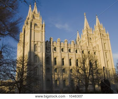 Salt Lake Temple From Southwest At Dusk