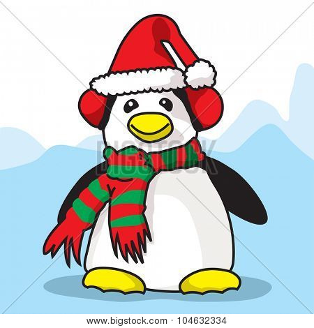 Penguin ready for Cristmas time - A vector illustration