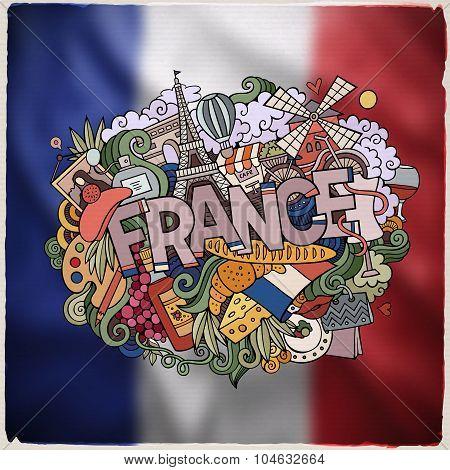 France hand lettering and doodles elements emblem