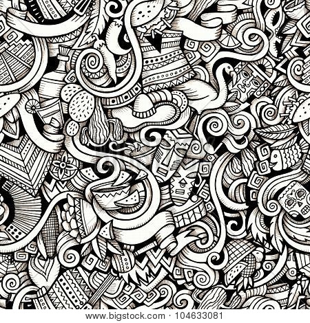 Cartoon hand-drawn Doodles on the subject of Latin American