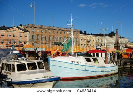 Fishing boats at the Market Square in Helsinki, Finland
