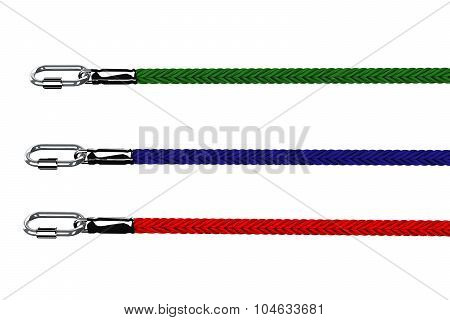 Ropes With Snap Hook Isolated On White Background