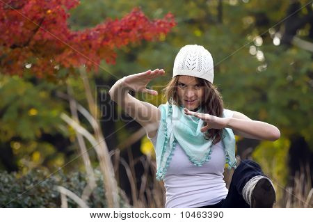 Woman In The Autumn Forest