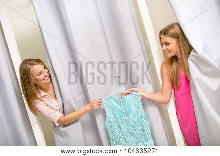 Young women in the dressing room