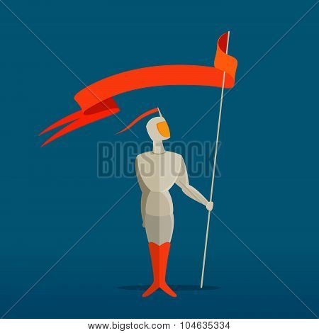 Medieval Knight With Spear And Flag, Banner.