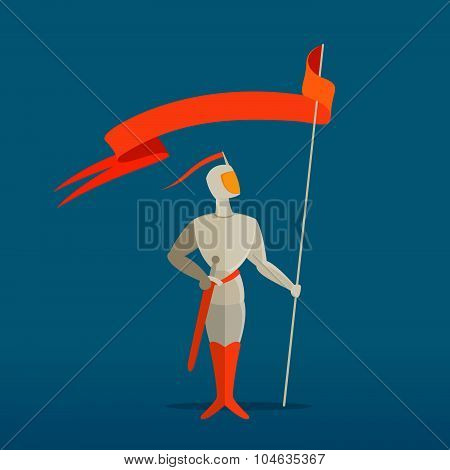 Medieval Knight With Spear, Sword And Flag, Banner.