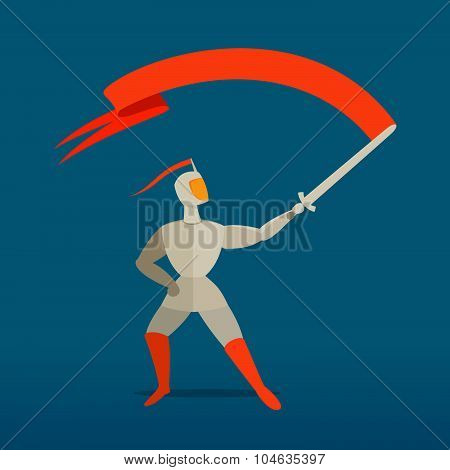 Medieval Knight With Sword And Flag, Banner.