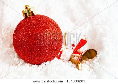 Decorative Christmas or New Year festive background with space for your text. Shallow DOF, artistic toned photo