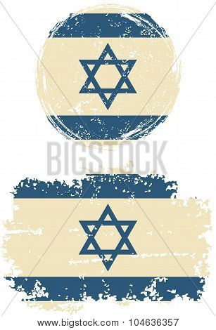 Israeli round and square grunge flags. Vector illustration.