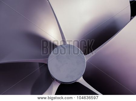Boat Propeller close-up detail nice tech background or abstract texture, artistic toned photo