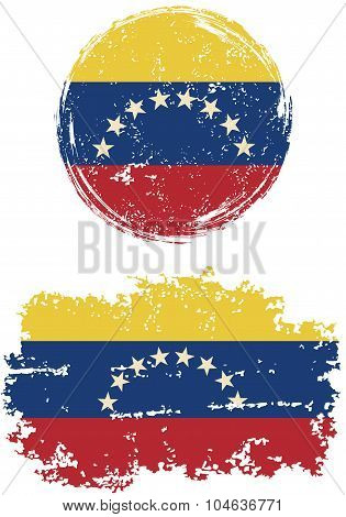 Venezuelan round and square grunge flags. Vector illustration.