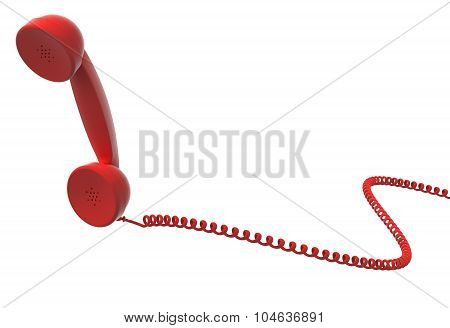 Red Retro Telephone Handset And Cable