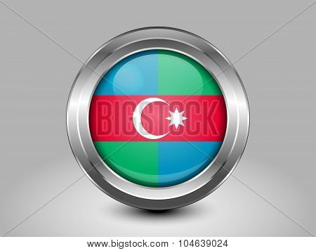 South Azerbaijan Flag.  Metal Round Icon