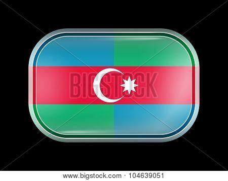 South Azerbaijan Flag. Rectangular Shape With Rounded Corners