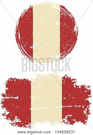 Peruvian round and square grunge flags. Vector illustration.