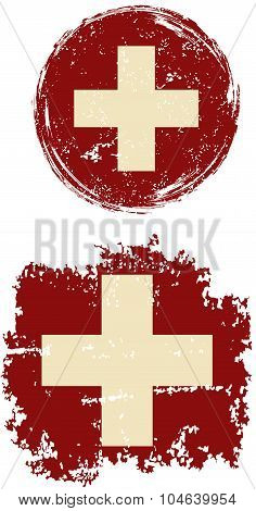 Swiss round and square grunge flags. Vector illustration.