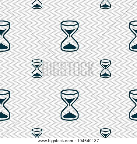 Hourglass Sign Icon. Sand Timer Symbol. Seamless Pattern With Geometric Texture. Vector
