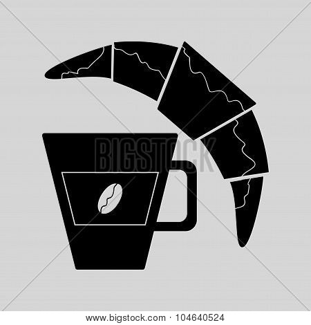 Flat in black white croissant and coffee