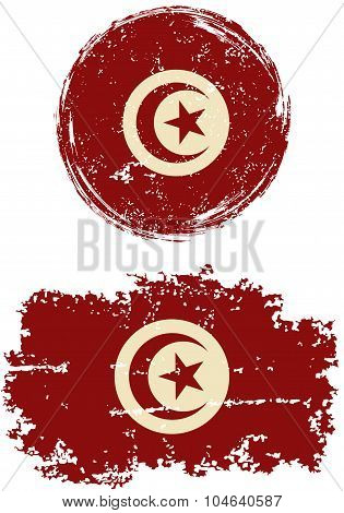 Tunisian round and square grunge flags. Vector illustration.