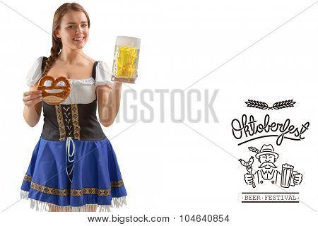 Oktoberfest girl holding beer and pretzel against oktoberfest graphics