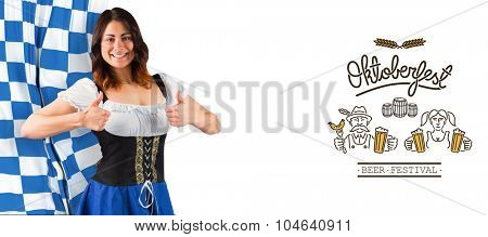 Pretty oktoberfest girl showing thumbs up against oktoberfest graphics