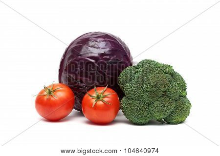 Tomatoes And Cabbage Isolated On A White Background