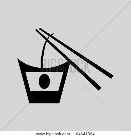 Flat in black and white Chinese noodles