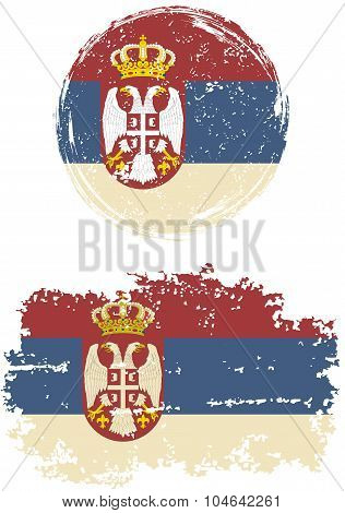 Serbian round and square grunge flags. Vector illustration.