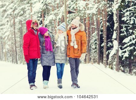 love, relationship, season, friendship and people concept - group of smiling men and women walking and talking in winter forest