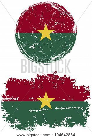 Burkina Faso round and square grunge flags. Vector illustration.