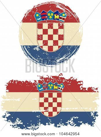 Croatian round and square grunge flags. Vector illustration.