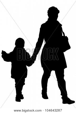Silhouette of a mother and daughter on white background