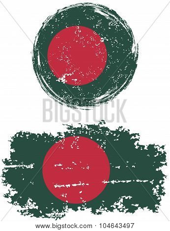 Bangladeshi round and square grunge flags. Vector illustration.