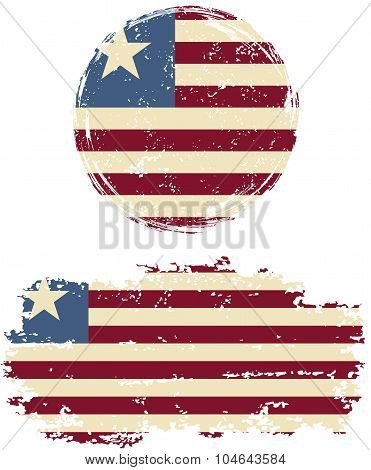 Liberian round and square grunge flags. Vector illustration.