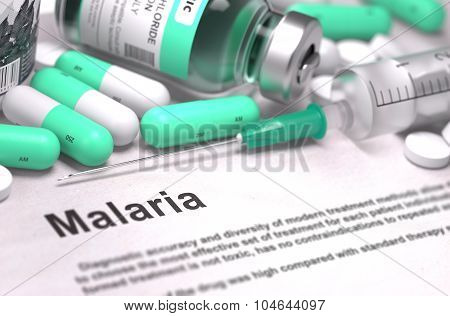 Diagnosis - Malaria. Medical Concept with Blurred Background.