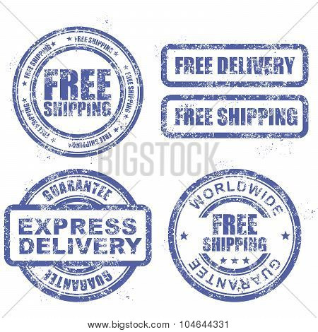 Express delivery and free worldwide shipping - stamps