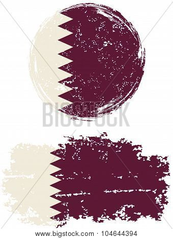 Qatari round and square grunge flags. Vector illustration.