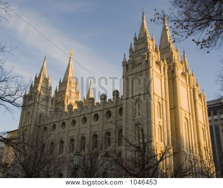 Salt Lake Temple North Side At Dusk