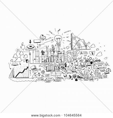 Conceptual image with business strategy sketches on white background