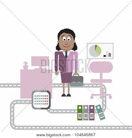 Business woman cartoon character.