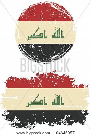 Iraqi round and square grunge flags. Vector illustration.