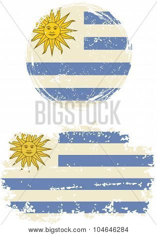 Uruguayan round and square grunge flags. Vector illustration.