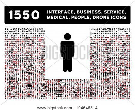 Man Icon and More Interface, Business, Tools, People, Medical, Awards Flat Vector Icons