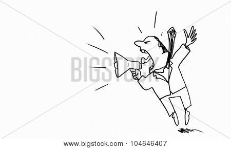 Caricature of angry businessman screaming in megaphone on white background