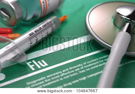 Flu. Medical Concept on Green Background.