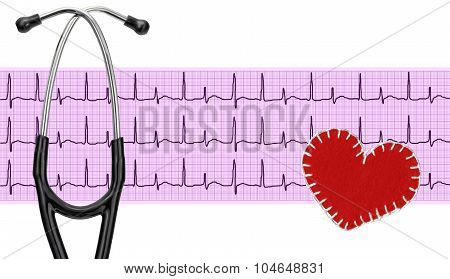 Stethoscope, Electrocardiogram Graph (ecg) And Textile Heart